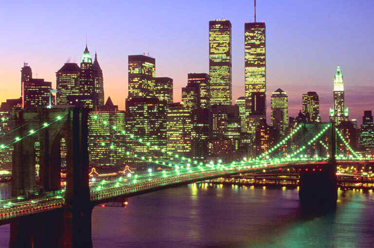 Brooklyn Bridge and New York City at Dusk